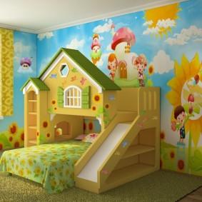 Яркие фотообои в детской комнате с горкой