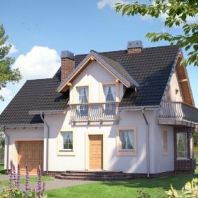 Дизайн загородного дома с балконами в мансарде