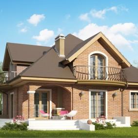 Дом из лицевого кирпича с балконами в мансарде