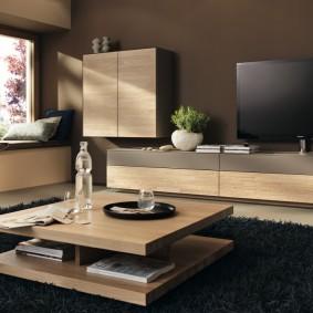 Мебель с отделкой натуральным шпоном для гостиной