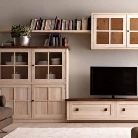 Модульная мебель с деревянными фасадами