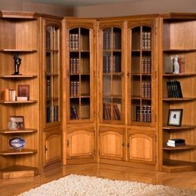 Шкаф для книг угловой планировки