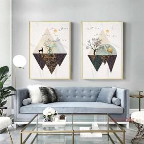 Диптих из модульных картин над диваном в зале