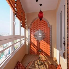 Восточный стиль в оформлении интерьера балкона