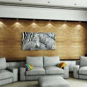 Декор обоями из бамбука стены в гостиной