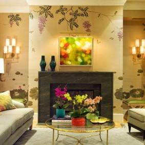Освещение гостиной комнаты с виниловыми обоями