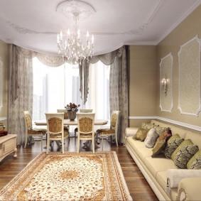 Оформление интерьера в гостиной с эркером
