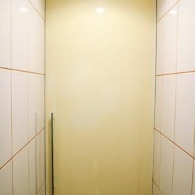Глянцевая дверка во всю стену узкого туалета