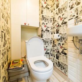 Интерьер современного туалета в смешанном стиле