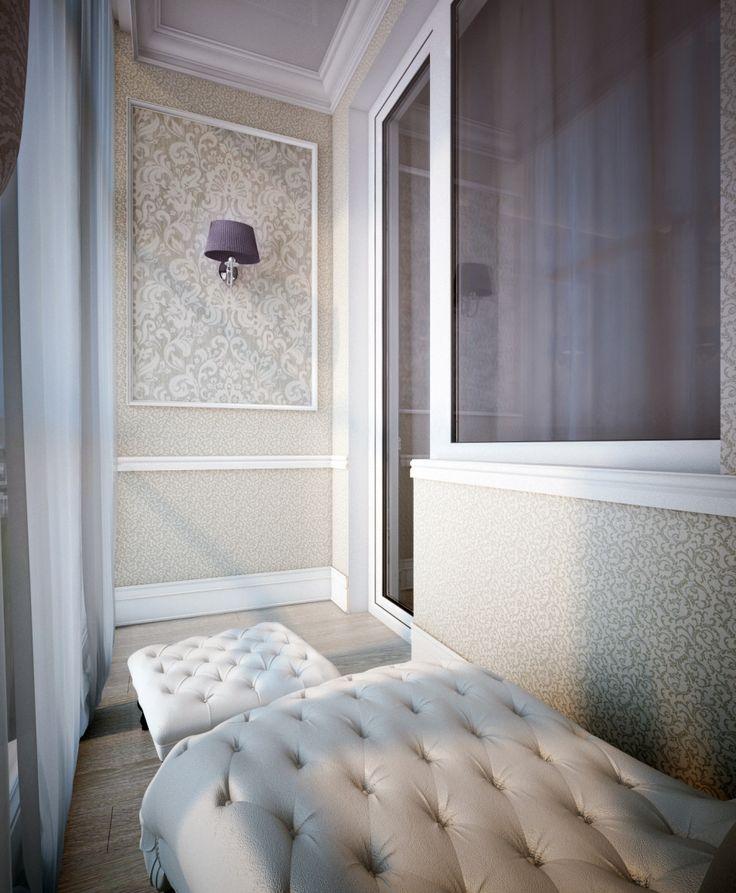 Интерьер небольшого балкона в классическом стиле
