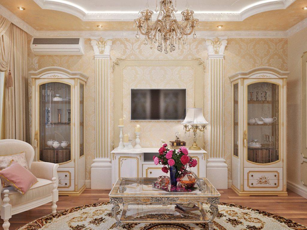 Пример расстановки мебели из дерева в гостиной