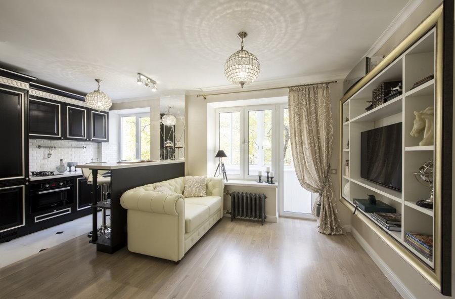 Черно-белая квартира-студия в стиле классика