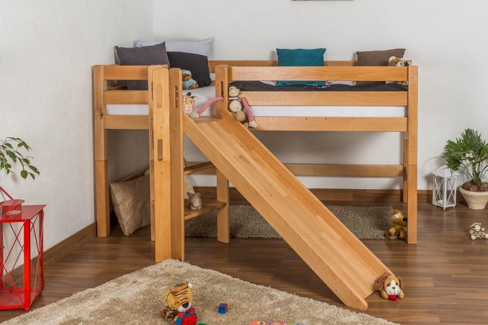 Детская кровать с горкой из дерева