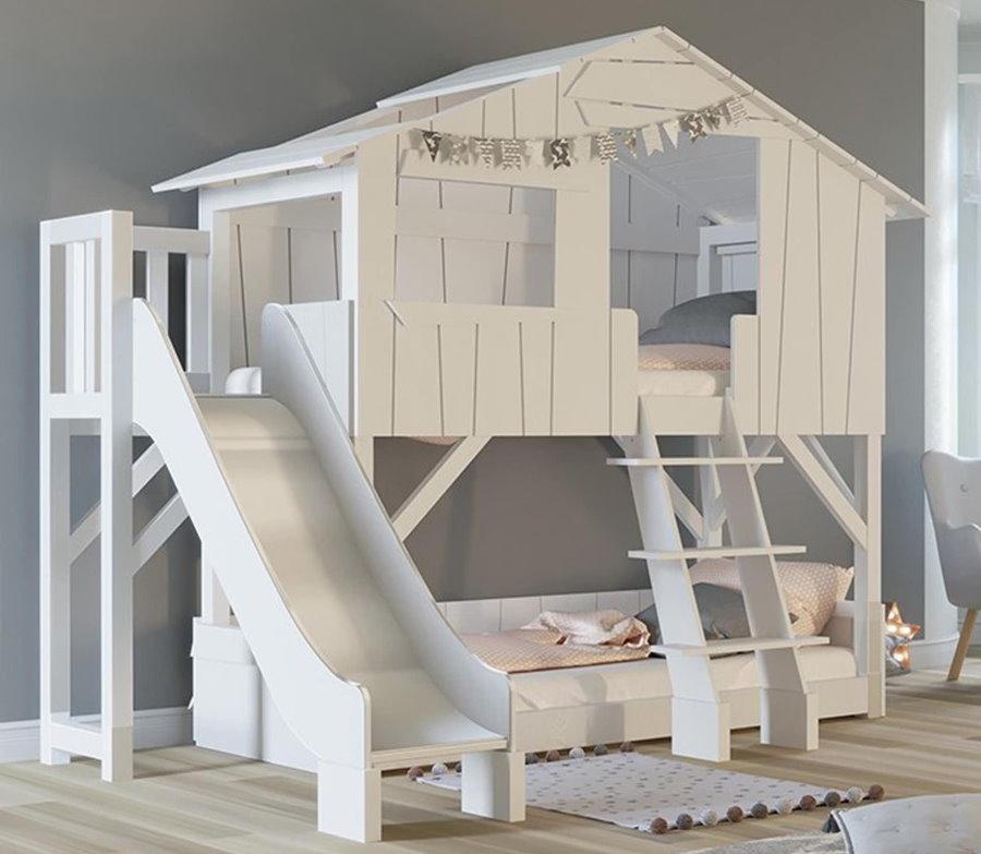 Кровать домик с горкой белого цвета