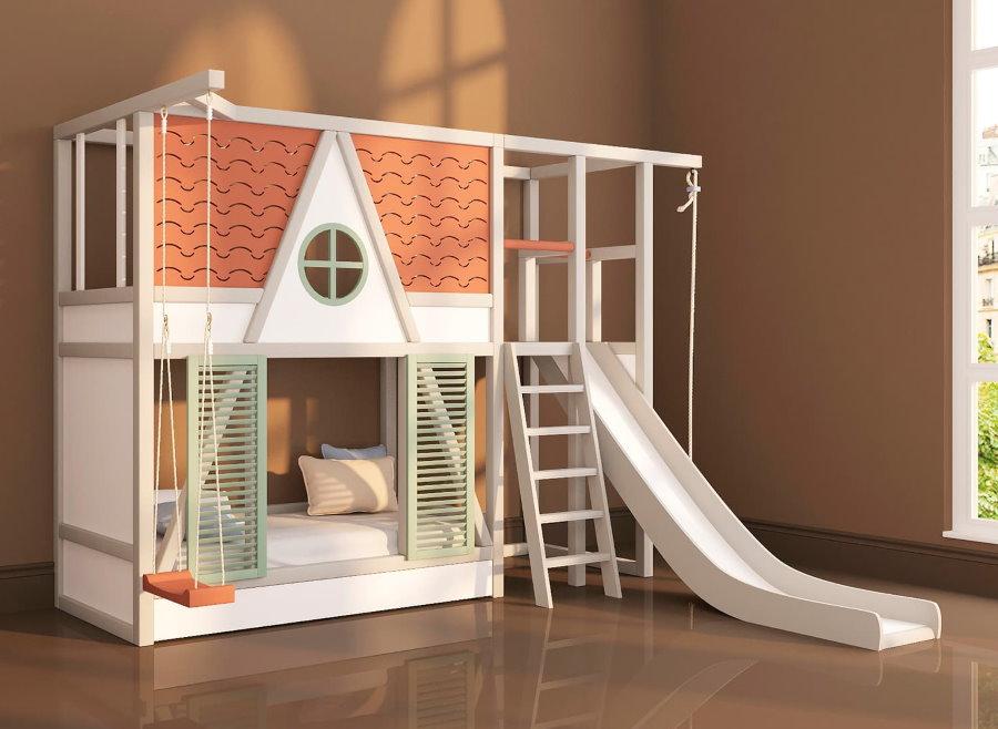 Двухэтажная детская кровать с качелями и горкой