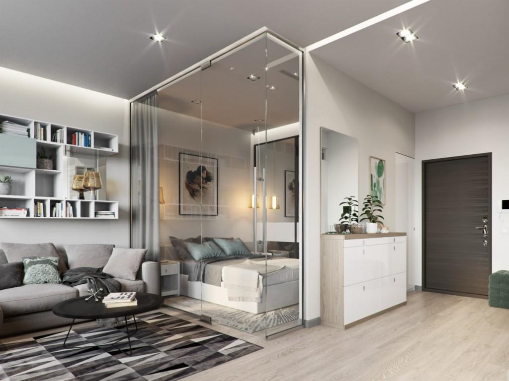 Организация спального места в однокомнатной квартире студии
