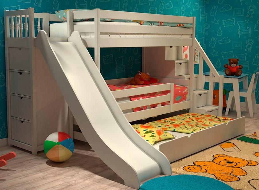 Кровать с выдвижным ложем в комнате небольшого размера