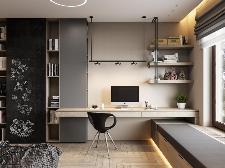 Интерьер комнаты для подростка в стиле минимализм