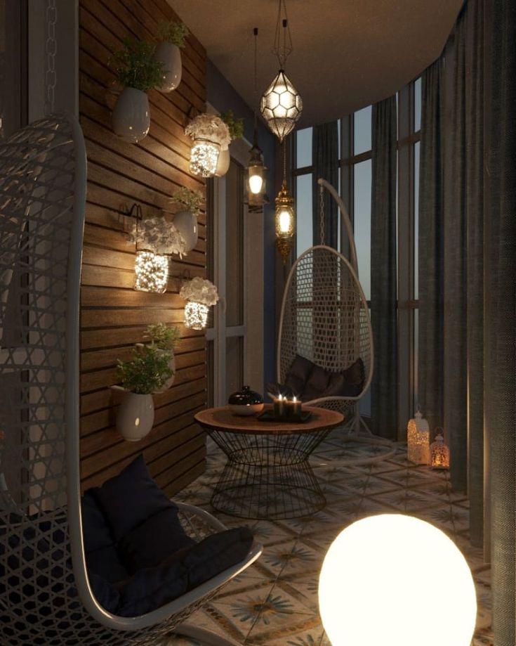 Красивые светильники на балконе в квартире