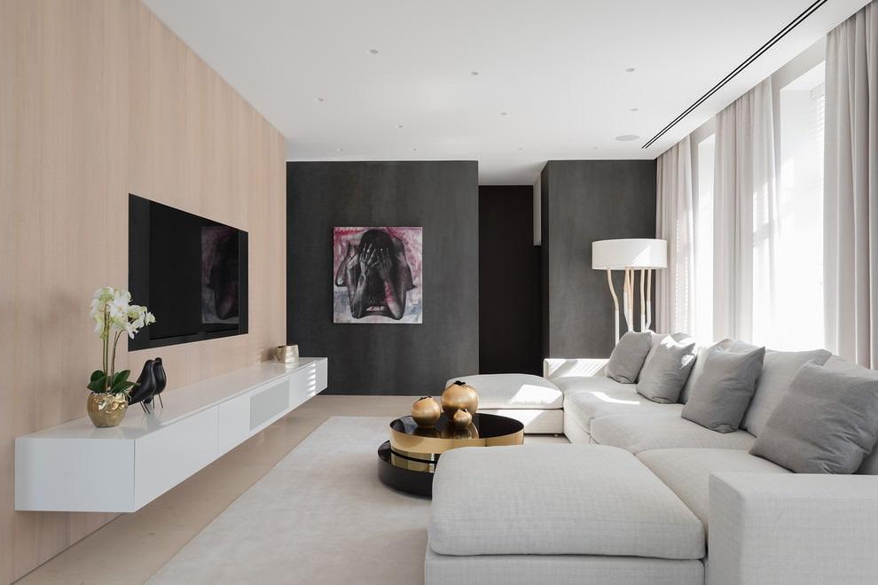 Выбор отделки для гостиной в стиле минимализма