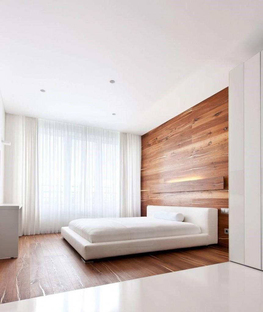 Отделка потолка в спальне стиля минимализма