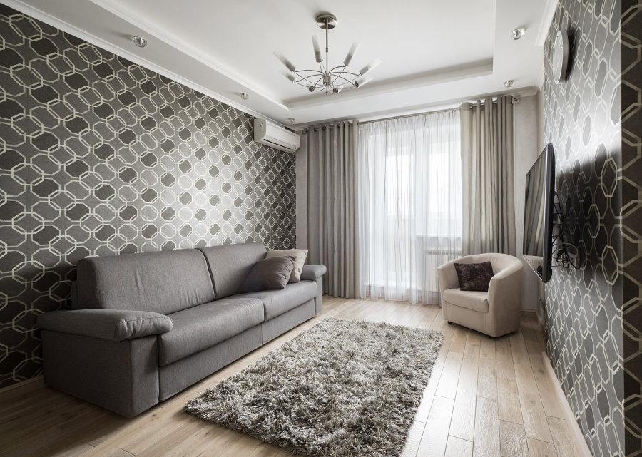 Подбор штор под обои в гостиной комнате