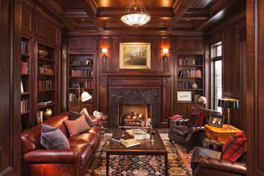 Деревянная мебель в гостиной английского стиля