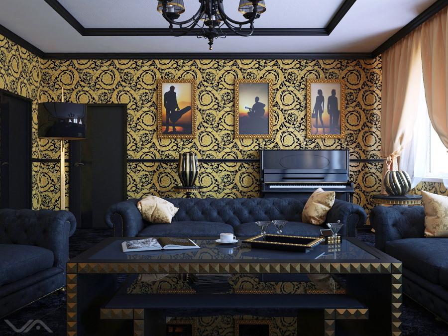 Синяя мебель в гостиной с золотистыми обоями