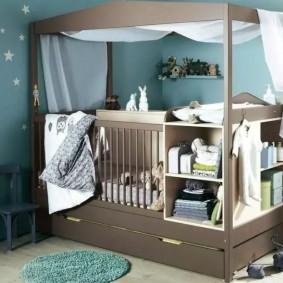 кроватка с пеленальным столиком идеи оформление