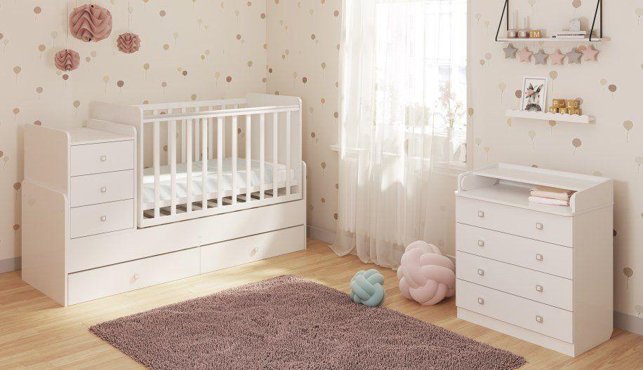 детская кровать с пеленальным столиком белая