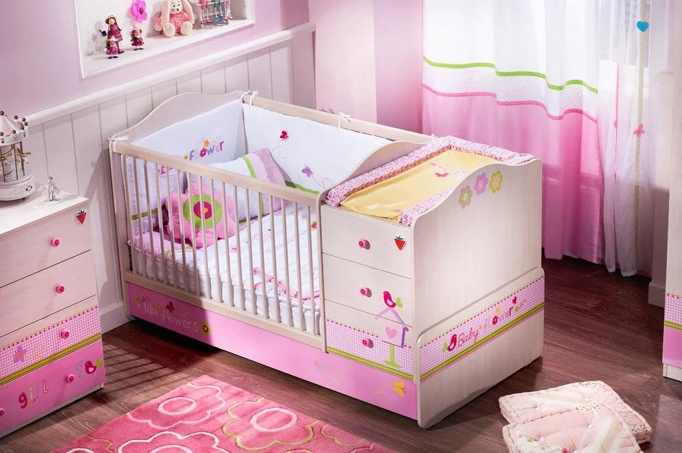 детская кровать с пеленальным столиком для девочки