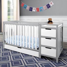 детская кровать с пеленальным столиком фото оформления