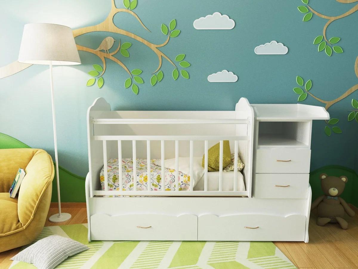 детская кровать с пеленальным столиком