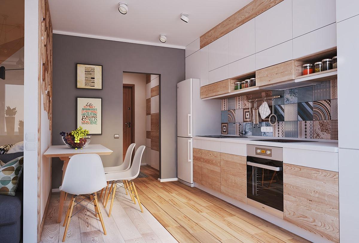 прямоугольная кухня 12 кв. м