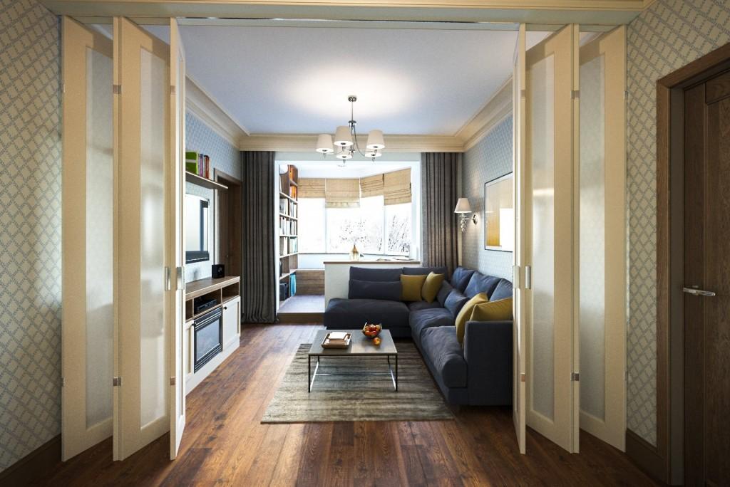Складные двери между коридором и проходной гостиной