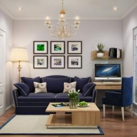 Декор стены над темно-синим диваном