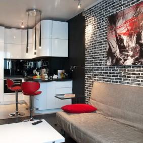 Угловой гарнитур в кухне-гостиной