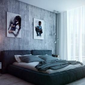 Декор деревянной стены в спальной комнате