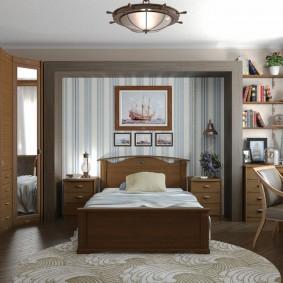 Полосатые обои в спальне классического стиля