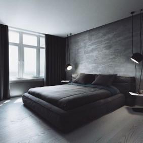 Черные занавески на окне брутальной спальни