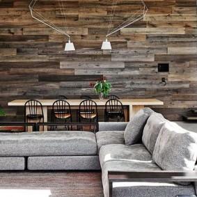 Деревянные панели в интерьере гостиной