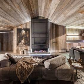 Дизайн гостиной комнаты в стиле альпийского шале