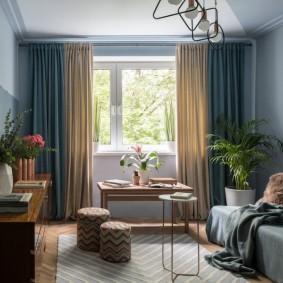 Интерьер небольшой гостиной в ретро стиле