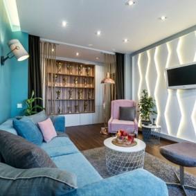 Освещение в гостиной прямоугольной формы