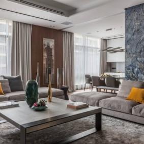 Дизайн квартиры студии с двумя диванами