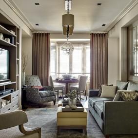 Уютная гостиная прямоугольной формы