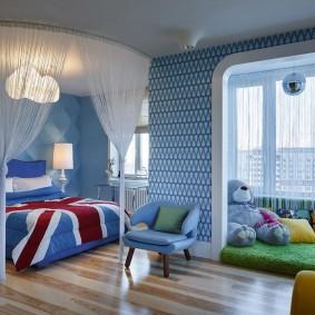 Голубая отделка детской комнаты