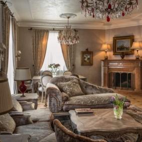 Уютная комната с угловым камином