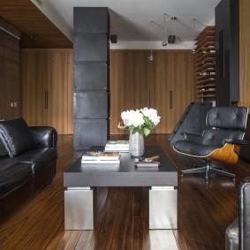Кожаная мебель серого цвета