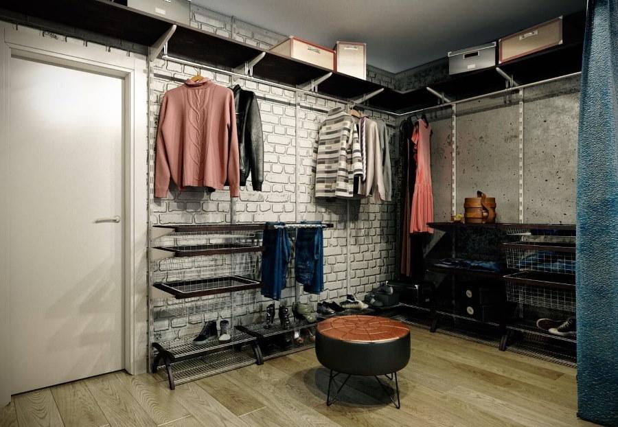 Угловой гардероб в комнате лофтной стилистики